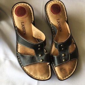 "Lassen leather slip on 2"" wedge sandals"